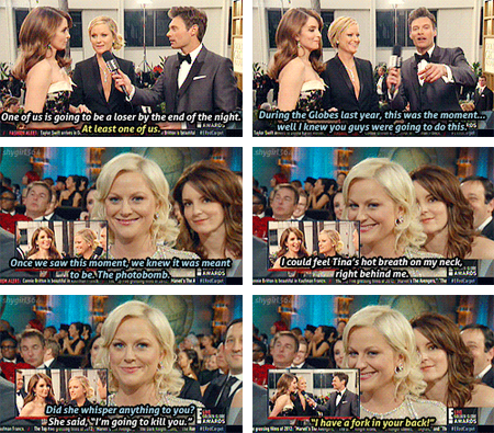 Amy Poehler and Tina Fey Being Interviewed by Ryan Seacrest
