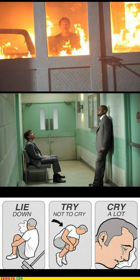 try not to cry,fire,TV,House MD
