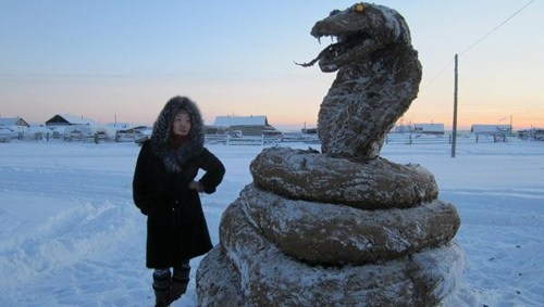 Cobra Made of Eight-Hundred Pounds of Frozen Cow Dung