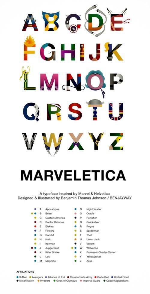 marvel,alphabet,captain america,superheroes,typeface,wolverine