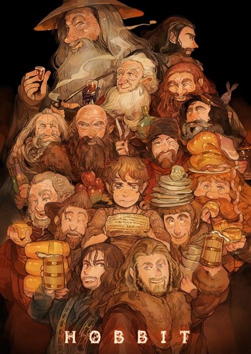 Bilbo Baggins,anime,fan art,gandalf,The Hobbit,thorin oakenshield