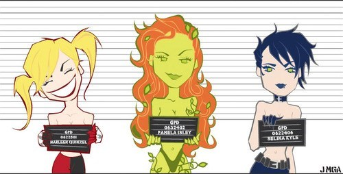 art,sirens,Harley Quinn,poison ivy,cat woman,gotham city