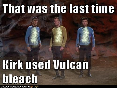 Captain Kirk,bleach,McCoy,Spock,DeForest Kelley,white,Vulcan,Leonard Nimoy,William Shatner,Shatnerday