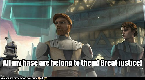 old,obi-wan kenobi,star wars,the clone wars,all your base are belong to us,zero wing,anakin skywalker