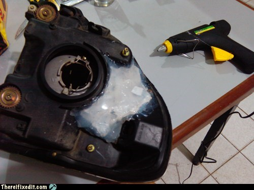 Headlight + Hotglue = Watertight