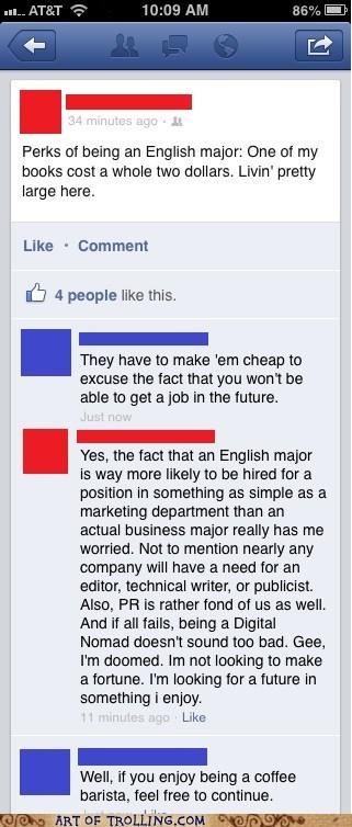 macchiato,barista,english majors,facebook,spelling,college