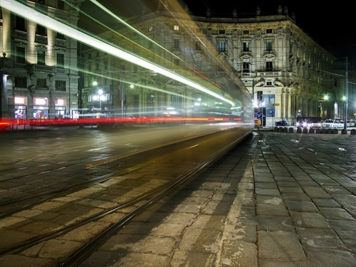 Italy,tram,cityscape,time lapse,exposure time