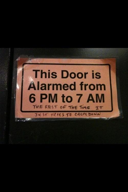 door,alarm,pun,shocking