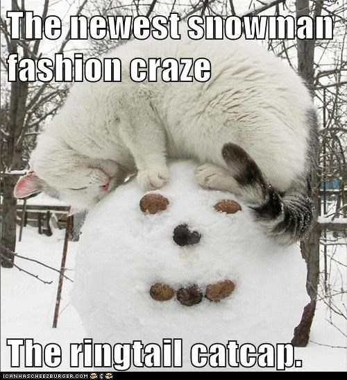 The newest snowman fashion craze  The ringtail catcap.