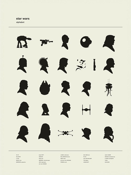 star wars,silhouettes,c3p0,alphabet,Death Star,at at