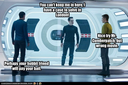 benedict cumberbatch,Captain Kirk,Spock,Zachary Quinto,Sherlock,Star Trek,wrong movie,prison,hobbit,star trek into darkness,chris pine