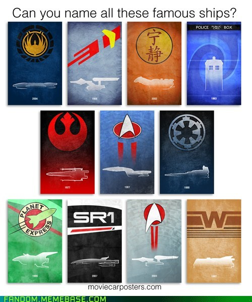Can you name all these famous spaceships?