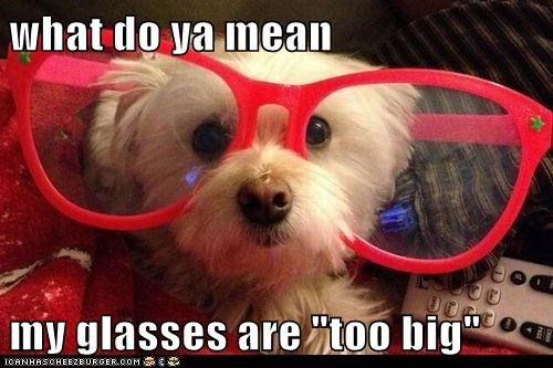 "what do ya mean  my glasses are ""too big"""