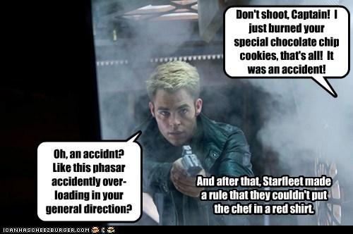 Captain Kirk,burnt,chef,Star Trek,star trek into darkness,chris pine