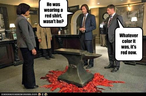 jensen ackles,anvil,red shirt,crushed,Supernatural,dean winchester,sam winchester,Jared Padalecki