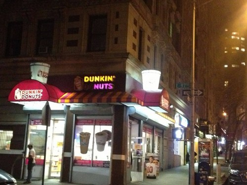 dunkin' donuts,sign,accidental gross