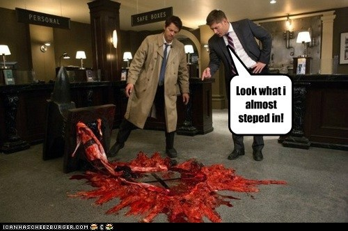 Blood,jensen ackles,stepped,Supernatural,dean winchester,look,misha collins,castiel,mess