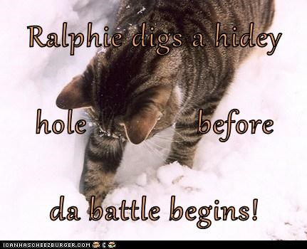 Ralphie digs a hidey hole              before da battle begins!