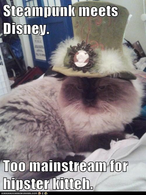 Steampunk meets Disney.  Too mainstream for hipster kitteh.