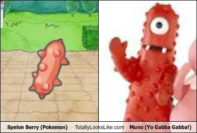Spelon Berry (Pokémon) Totally Looks Like Muno (Yo Gabba Gabba!)