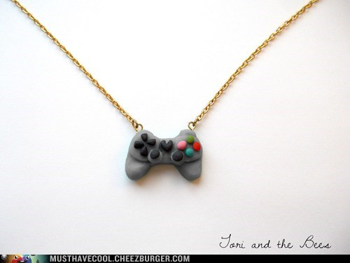 playstation,necklace,controller,pendant,handmade,gray,chain