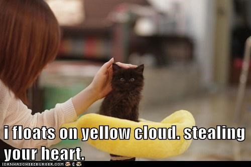 i floats on yellow cloud. stealing your heart.