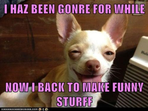 I HAZ BEEN GONRE FOR WHILE  NOW I BACK TO MAKE FUNNY STURFF