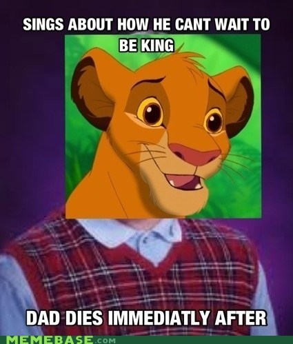the lion king,simba,bad luck brian