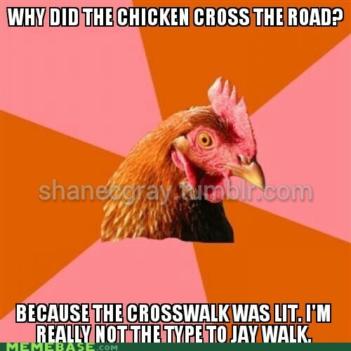 Anti-joke chicken strikes again