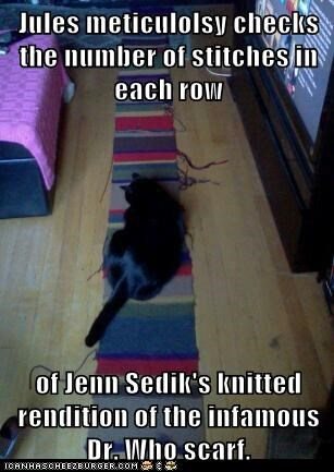 Jules meticulolsy checks the number of stitches in each row  of Jenn Sedik's knitted rendition of the infamous Dr. Who scarf.