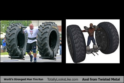 World's Strongest Man Tire Run Totally Looks Like Axel from Twisted Metal