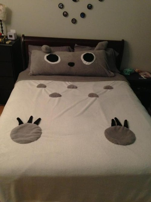 bed,blankets,totoro,sheets,DIY,craft,my neighbor totoro,sewing