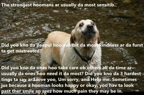 The strongest hoomans ar usually da most sensitib..  Did yoo kno da peepul hoo exhibit da most kindness ar da furst ta get mistreated?  Did yoo kno da ones hoo take care ob uthers all da time ar usually da ones hoo need it da most? Did yoo kno da 3 hardes