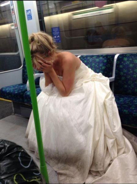 Sad,wedding dress,bus