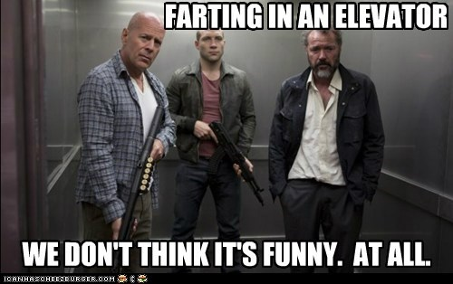 John McClane,guns,a good day to die hard,elevator,jack mcclane,bruce willis,farting,die hard,jai courtney,not funny