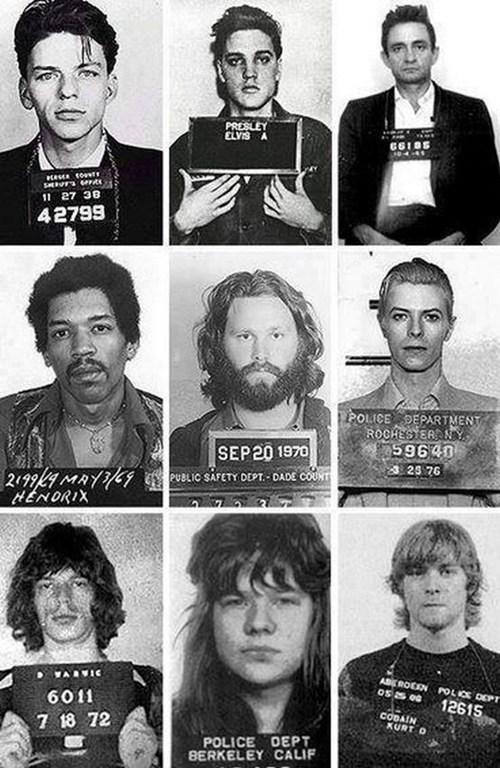 mug shots,Elvis Presley,mick jagger,david bowie,johnny cash,frank sinatra,jimi hendrix,jim morrison,kurt cobain,musicians