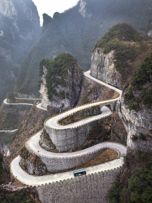 Winding Roads on Tianmen Mountain