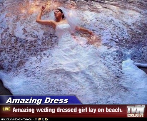 Amazing Dress - Amazing weding dressed girl lay on beach.