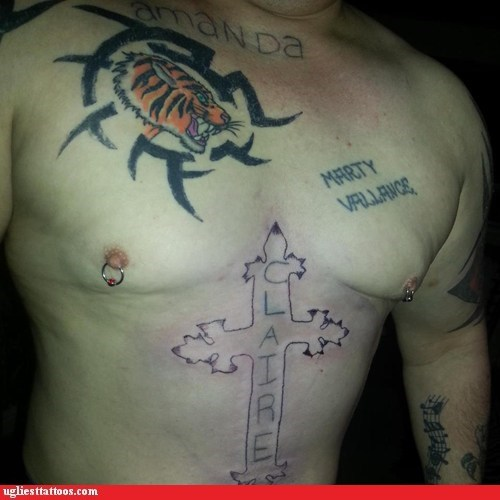 cross,tiger,chest tattoos,Ugliest Tattoos