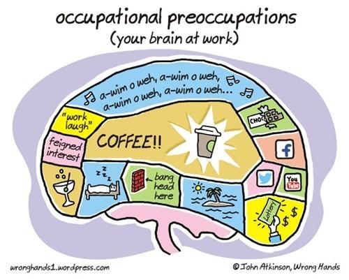 work,preoccupied,coffee,brain