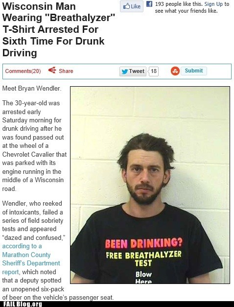 Criminally Dumb Criminal,shirt,dui,irony