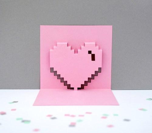 DIY Pixel Heart Valentines