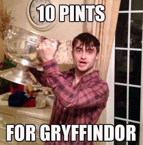 drinking,Harry Potter,Daniel Radcliffe,pints,cup,gryffindor