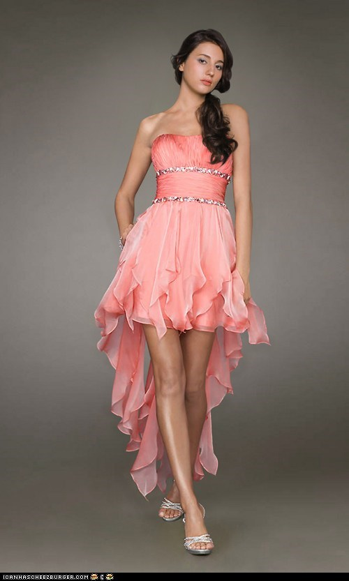 orange high low kleid