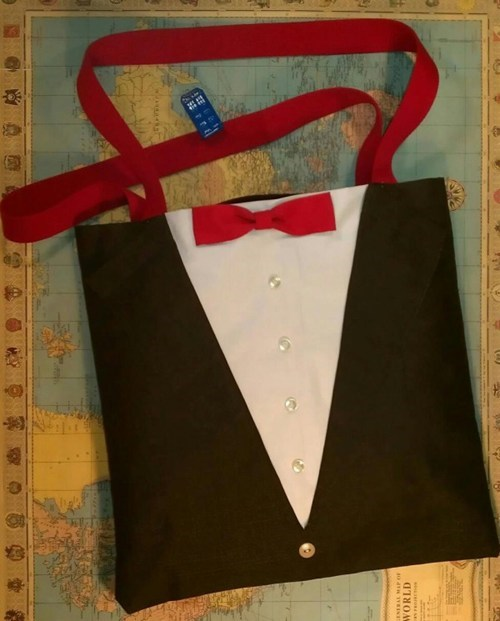 bag,tote,bow tie,doctor who,suit