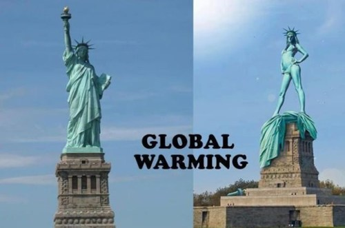 global warming,Statue of Liberty,Before And After