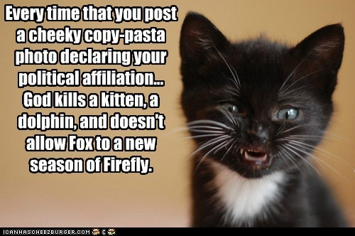 Every time that you post a cheeky copy-pasta photo declaring your political affiliation... God kills a kitten, a dolphin, and doesn't allow Fox to a new  season of Firefly.