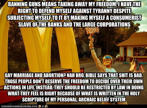 BANNING GUNS MEANS TAKING AWAY MY FREEDOM, I HAVE THE RIGHT TO DEFEND MYSELF AGAINST TYRANNY DESPITE SUBJECTING MYSELF TO IT BY MAKING MYSELF A CONSUMERIST SLAVE OF THE BANKS AND THE LARGE CORPORATIONS