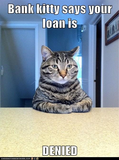Bank kitty says your loan is   DENIED