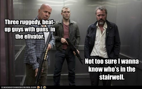 scary,guns,elevator,beat up,bruce willis,stairwell,jai courtney
